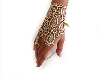 Gold lace wrist cuff, Slave bracelet hand charm, Guipure lace handlet, Bridal fingerless glove, Evening cuff bracelet  Wedding gift for her