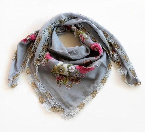 f412d97ec81 Boho foulard foulard imprimé Floral gris authentique