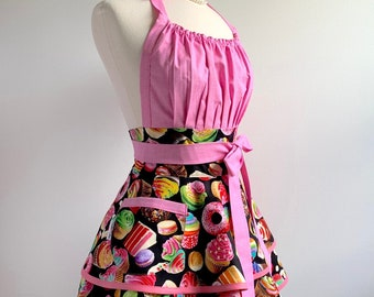 Womens Sexy Apron with Cupcakes and Pocket - Full Flirty Chic Retro Pinup Style - Personalized Gift for Her