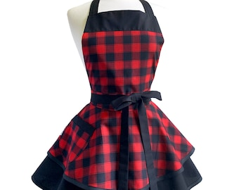 Womens Cute Buffalo Check Retro Apron - Personalized Apron - Gift for Wife - Frilly & Flirty Red Christmas Apron - Embroidered