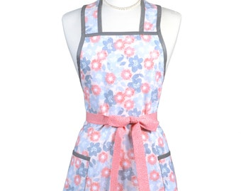 Womens Vintage Apron - Coral and Gray Floral Apron - Cute Retro 50s Style Kitchen Apron - Over the Head Apron - Monogram Option