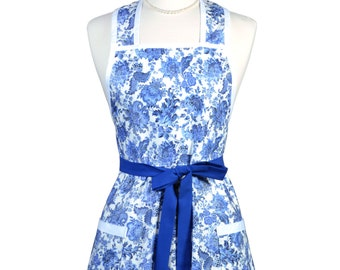 Womens Vintage Apron - Delft Blue Floral Kitchen Apron - Cute Retro 50s Style Apron - Over the Head Apron - Monogram Option