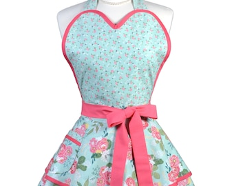 Sugardoll Pinup Apron - Womens Teal Pink Rose Floral Kitchen Apron - Sexy Cute Sweetheart Apron with 2 Skirts and Pocket - Monogram Option