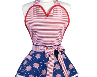 Sugardoll Pinup Apron - Womens 4th of July Independence Day Red White Blue Patriotic Kitchen Apron - Sexy Cosplay Apron - Monogram Option
