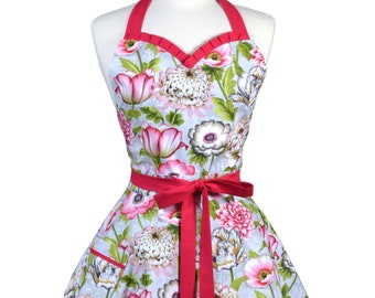 Sweetheart Retro Apron - Gray Vintage Floral Apron - Womens Flirty Sexy Kitchen Pinup Cute Apron with Pocket - Monogram Option
