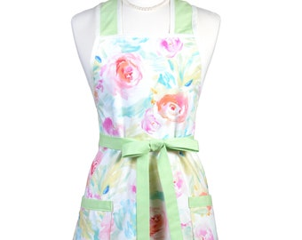 Womens Vintage Apron - Mint Green Watercolor with Pink Floral Apron - Cute Retro Kitchen Apron - Over the Head Apron - Monogram Option