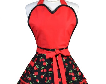 Sugardoll Pinup Apron - Womens Glamour Red Roses Kitchen Apron - Sexy Cute Sweetheart Apron with 2 Skirts and Pocket - Monogram Option