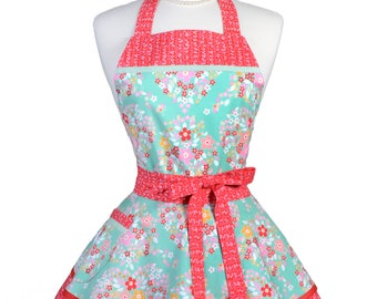 Ruffled Retro Apron - Forget Me Not Heart Shaped Floral Bouquets Kitchen Apron - Womens Sexy Cute Pinup Apron with Pocket - Monogram Option