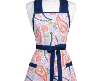 Blue Orange Daisy Paisley Womens 50s Retro Vintage Kitchen Apron with Pockets and Personalized Monogram Option - Monogram Option