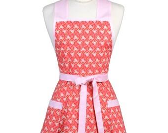 Womens Vintage Apron - Kewpie Pie Hearts of Love Apron - Cute Retro 50s Style Kitchen Apron - Over the Head Apron - Monogram Option