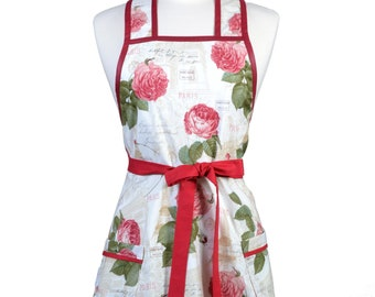 Womens Vintage Apron - Romantic Paris and Roses Apron - Cute Retro 50s Style Kitchen Apron - Over the Head Apron - Monogram Option
