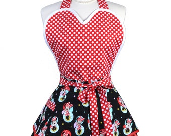 Sugardoll Pinup Apron - Womens Disney Minnie Mouse Kitchen Apron - Sexy Cute Sweetheart Apron with 2 Skirts and Pocket - Monogram Option