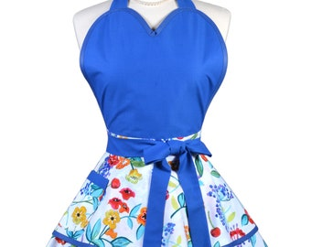 Sugardoll Pinup Apron - Womens Royal Blue Colorful Floral Kitchen Apron - Sexy Cute Sweetheart Apron with Pocket - Monogram Option