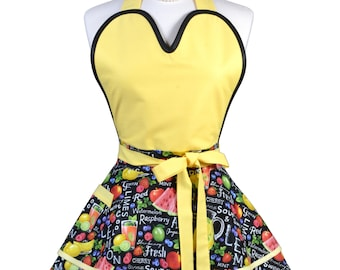 Sugardoll Pinup Apron - Womens Yellow Summer Watermelons Kitchen Apron - Sexy Cute Sweetheart Apron with Pocket - Monogram Option