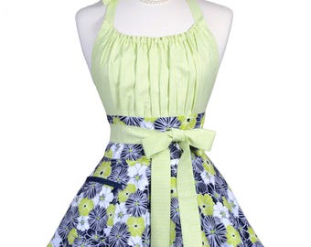 Flirty Chic Pinup Apron - Indigo Blue and Lime Green Floral Apron - Womens Sexy Cute Retro Kitchen Apron with Pocket - Monogram Option