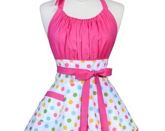 Flirty Chic Pinup Apron - Birthday Confetti Pink Polka Dots Apron - Womens Sexy Cute Retro Kitchen Apron with Pocket - Monogram Option