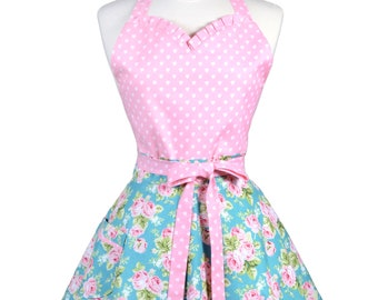 Sweetheart Retro Apron - Pink Roses and Hearts on Teal Apron - Womens Flirty Sexy Kitchen Pinup Cute Apron with Pocket - Monogram Option