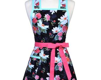 Womens Vintage Apron - Asian Magnolia Black Pink Aqua Apron - Cute Retro 50s Style Kitchen Apron - Over the Head Apron - Monogram Option