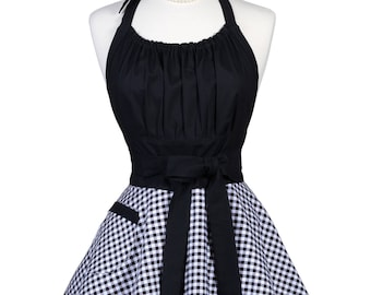Flirty Chic Pinup Apron - Black Gingham Check - Womens Sexy Cute Retro Kitchen Apron with Pocket - Monogram Option
