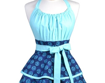 Flirty Chic Pinup Apron - Turquoise Blue Polka Dot Apron - Womens Sexy Cute Retro Kitchen Apron with Pocket - Monogram Option