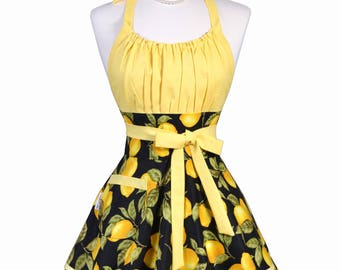 Flirty Chic Pinup Apron - Black Yellow Farmers Market Lemons - Womens Sexy Cute Retro Kitchen Apron with Pocket - Monogram Option