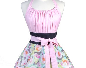 Flirty Chic Pinup Apron - Pink Gray Watercolor Floral Apron - Womens Sexy Cute Retro Kitchen Apron with Pocket - Monogram Option