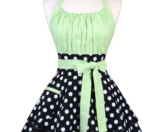Womens Sexy Black Polka Dot Apron - Personalized Gift for Wife - Frilly & Flirty Cute Kitchen Apron for Baking - Custom Monogram