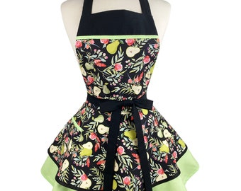 Womens Cute Fall Retro Apron - Personalized Apron Gift for Wife - Frilly & Flirty Apron with Pears - Custom Embroidered