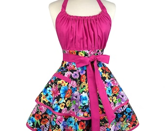 Womens Sexy Retro Floral Apron - Personalized Gift for Wife - Bright Colored Cute Flirty Apron - Custom Embroidered