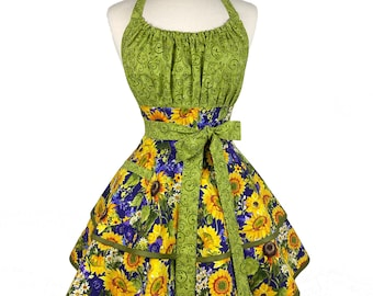 Womens Fall Sunflower Cute Apron - Personalized Gift for Girlfriend - Flirty & Sexy Apron for Wife - Custom Embroidered