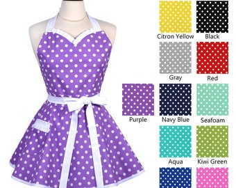 0f70d68b722 Choice of Polka Dot Colors Flirty Retro Sweetheart Apron with Sexy Ruffled  Neckline and Pocket with Personalized Embroidery Option