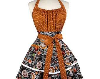 Womens Fall Pumpkin Spice Sexy Apron - Personalized Gift for Wife - Cute Coffee Lovers Flirty Retro Apron - Custom Embroidered