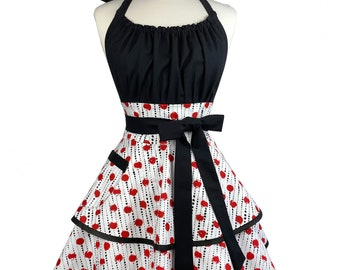 Sexy Red & Black Womens Apron - Personalized Gift for Wife - Flirty Retro Polka Dot Apron - Custom Embroidered