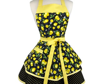 Womens Cute Retro Lemon Apron - Personalized Apron Gift for Wife, Best Friend - Sexy & Flirty Baking Apron - Custom Embroidered