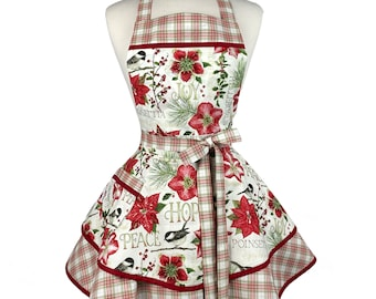 Womens Red Floral Cute Christmas Apron - Personalized Gift for Wife, Girlfriend - Plaid Flirty Holiday Apron - Custom Embroidered