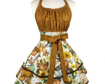 Womens Flirty Fall Apron - Personalized Gift for Wife - Cute & Sexy Retro Thanksgiving Apron with Pumpkins - Custom Embroidered