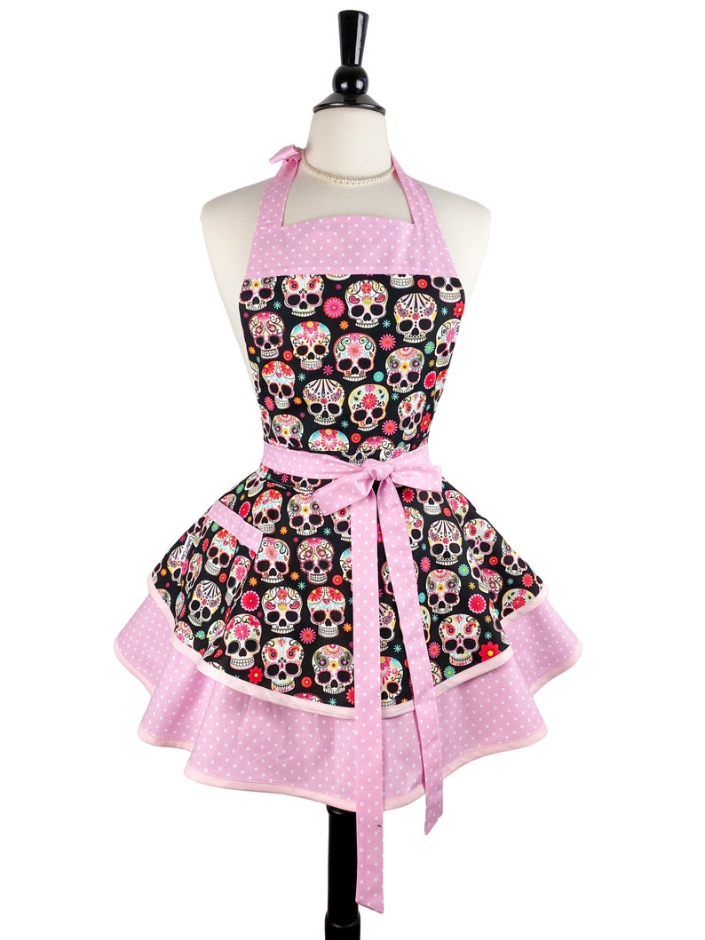 Womens Sexy Sugar Skulls Pink Retro Apron  Cute Personalized image 0