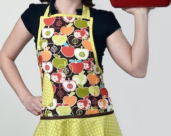 Vintage Inspired Flounce - Michael Miller Bite Me Apple in Green and Brown  - Fabulous Fall, Autumn or Thanksgiving Hostess Apron