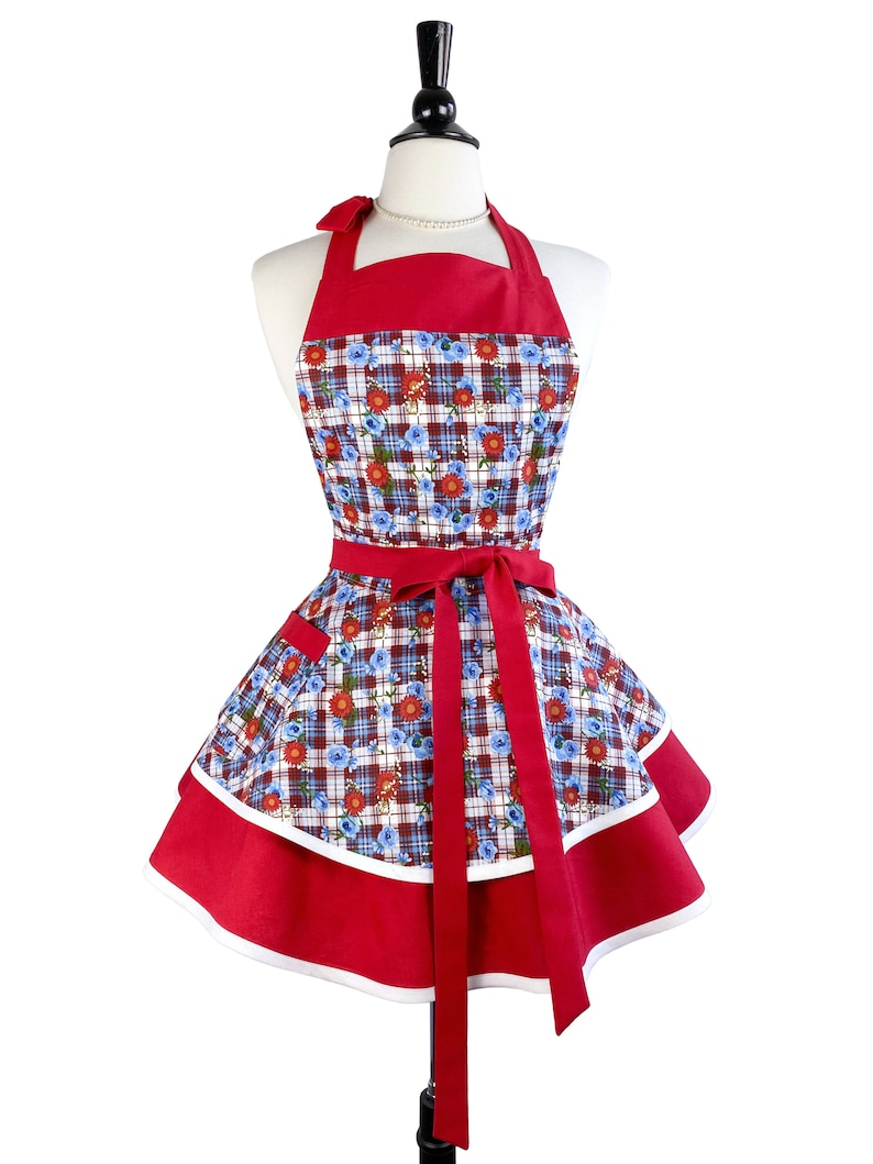 Americana Red White Blue Floral Cute Retro Apron for Women  image 0