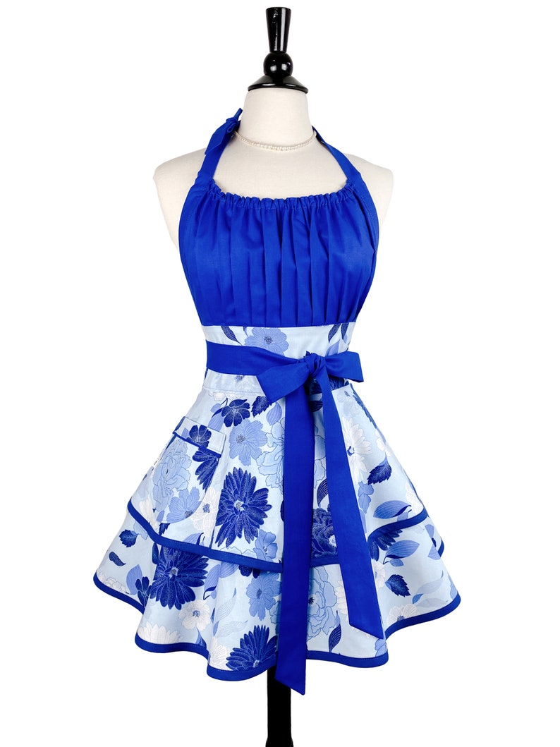 Womens Sexy Blue Floral Apron  Personalized Mothers Day Gift image 0