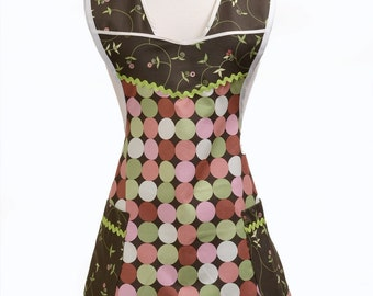 Women's Vintage Inspired / Vintage Style Mod Fabric in Brown, Peach, Orange, Green Large Dots