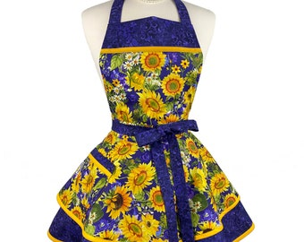 Womens Flirty Cute Fall Apron - Personalized Gift for Wife - Retro Sexy Apron with Sunflower - Custom Embroidered