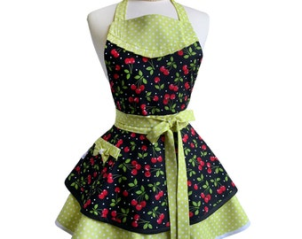 Womens Retro Apron with Cherries on Black with Pocket - Personalized Gift for Mom - Cute Full Kitchen Apron for Baking or Cooking