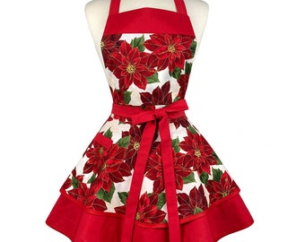 Red Floral Cute Christmas Apron - Personalized Gift for Girlfriend, Wife - Custom Embroidered Frilly Retro Holiday Apron