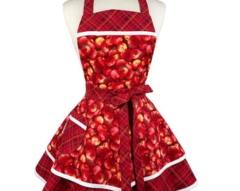 Womens Retro Apples Cute Fall Apron - Personalized Gift for Wife - Sexy Flirty Thanksgiving Apron with Apples - Custom Embroidered