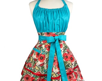 Womens Cute & Flirty Butterfly Apron - Personalized Gift for Wife - Aqua Red Sexy Retro Apron - Embroidered Apron