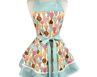 Womens Cute Retro Apron with Ice Cream - Personalized Gift for Wife, Girlfriend - Flirty & Sexy Apron - Embroidered