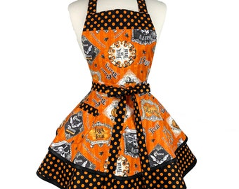 Womens Cute Halloween Sexy Apron - Personalized Gift for Girlfriend, Wife - Orange Black Flirty Apron - Custom Embroidered