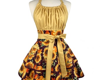 Womens Fall Sunflower Cute Apron - Personalized Gift for Wife - Retro Sexy & Flirty Thanksgiving Apron - Custom Embroidered