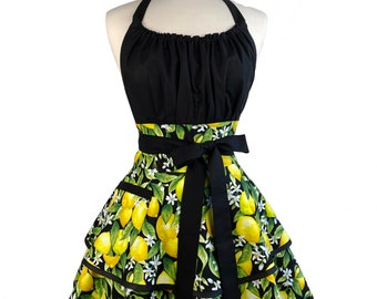 Womens Cute Sexy Apron with Lemons - Personalized Gift for Wife, Girlfriend - Cute and Flirty Retro Apron - Custom Embroidered